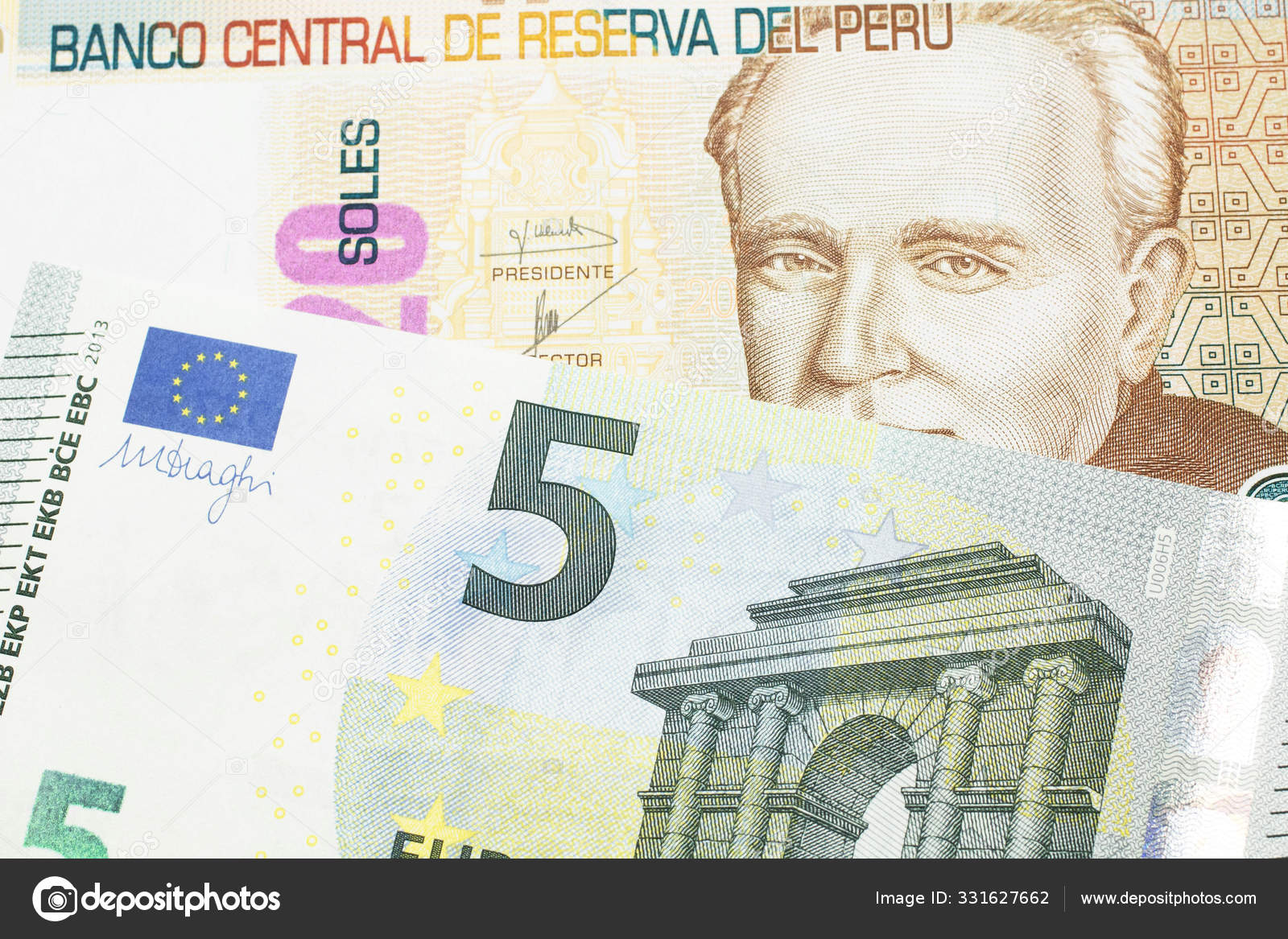 A pastel colored, twenty Peruvian sol bank note, close up in macro with a  red, European five euro bill 9