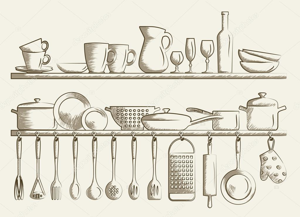 retro kitchen shelves and cooking utensils hand drawn cartoon doodle vector illustration. Black Bedroom Furniture Sets. Home Design Ideas