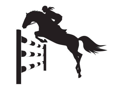 Equestrian competitions - jumping horse - vector illustration of horse