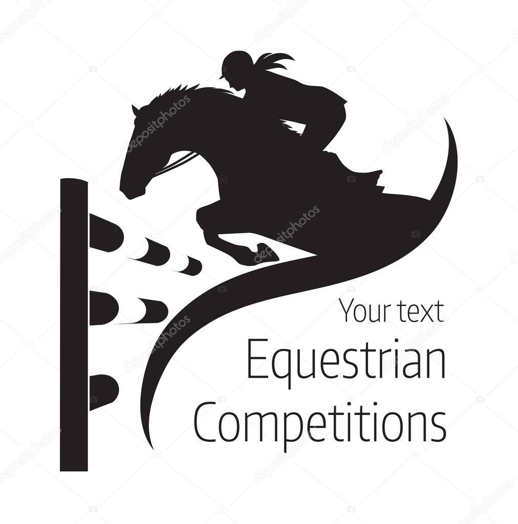 Equestrian Competitions Jumping Horse Logo Stock Vector C Ornavi 129810782