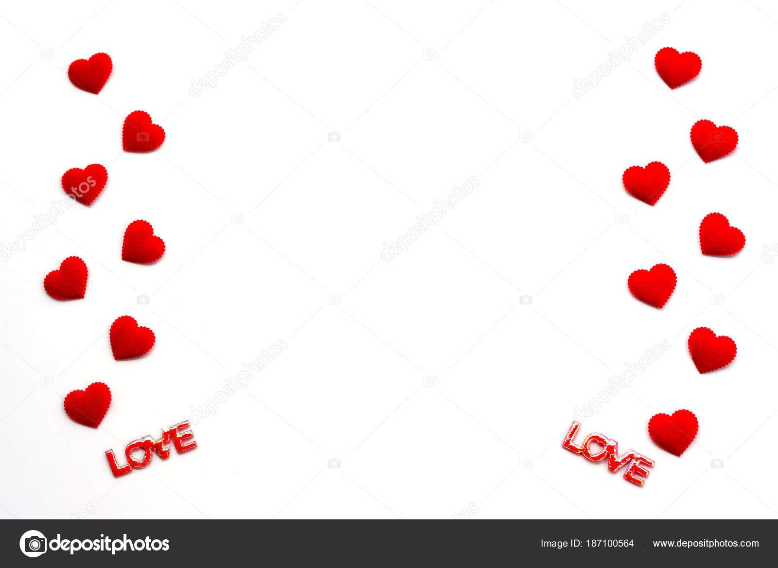 Texto Rojo Corazones Amor Flotan Sobre Fondo Blanco Con Uso — Fotos ...