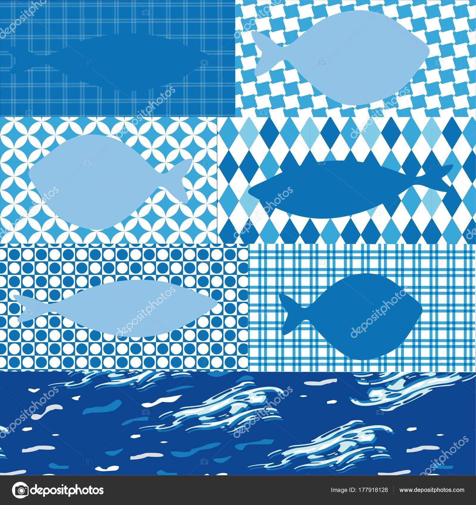 Vector Disegno Pesce Sfondi Diversi Temi Marini Ideale Biglietti