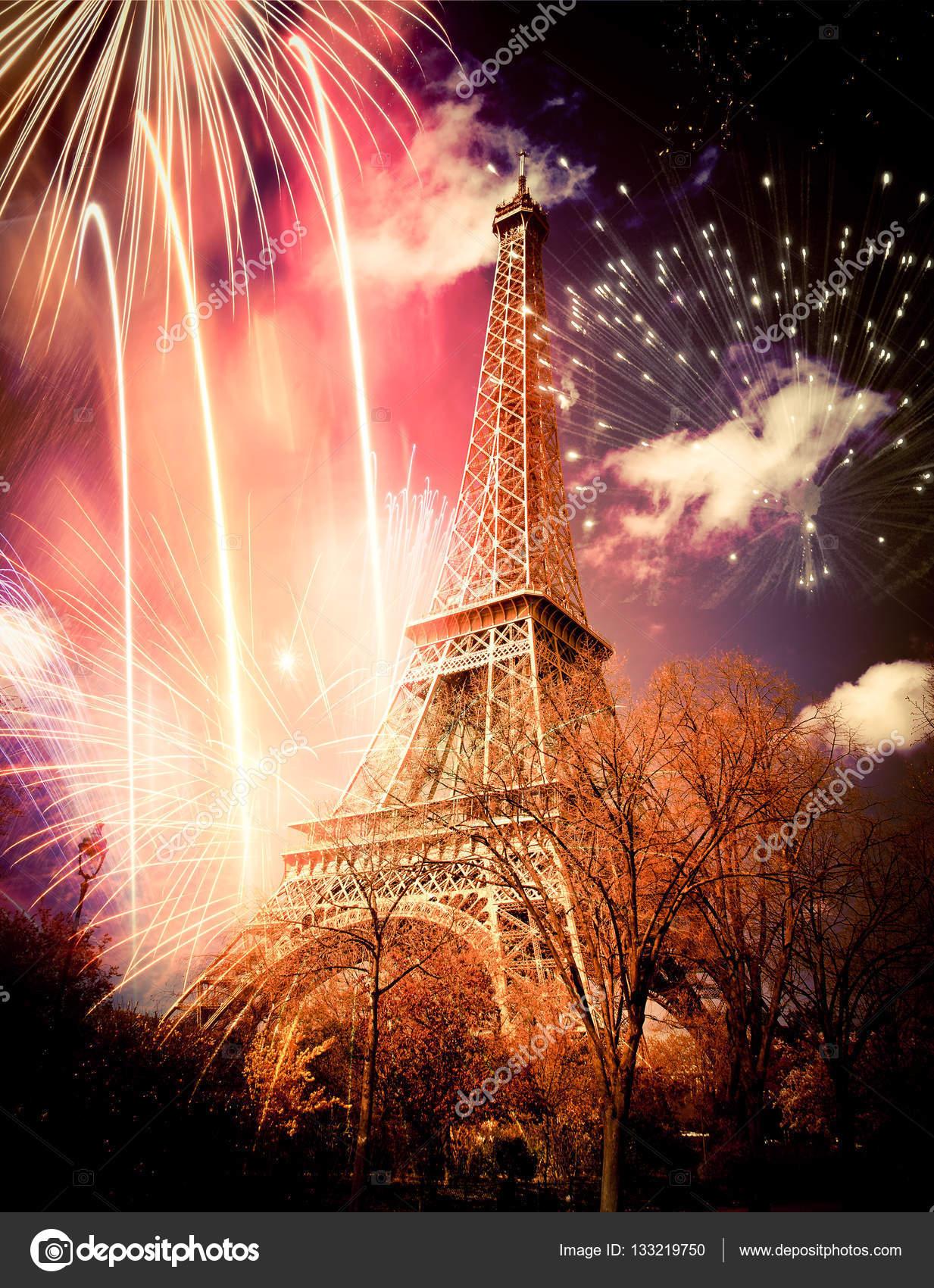 eiffel tower (paris, france) with fireworks — stock photo © melis82