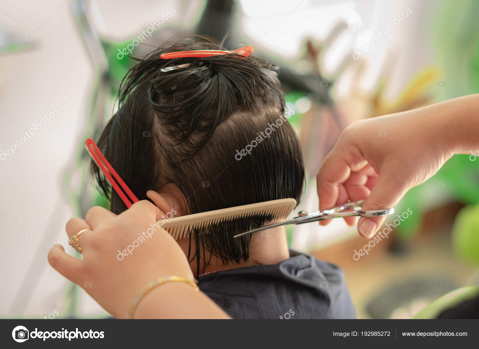 Back Side Of A Girl Hair Cut In Barber Salon Stock Photo C Yortzafoto 192985272