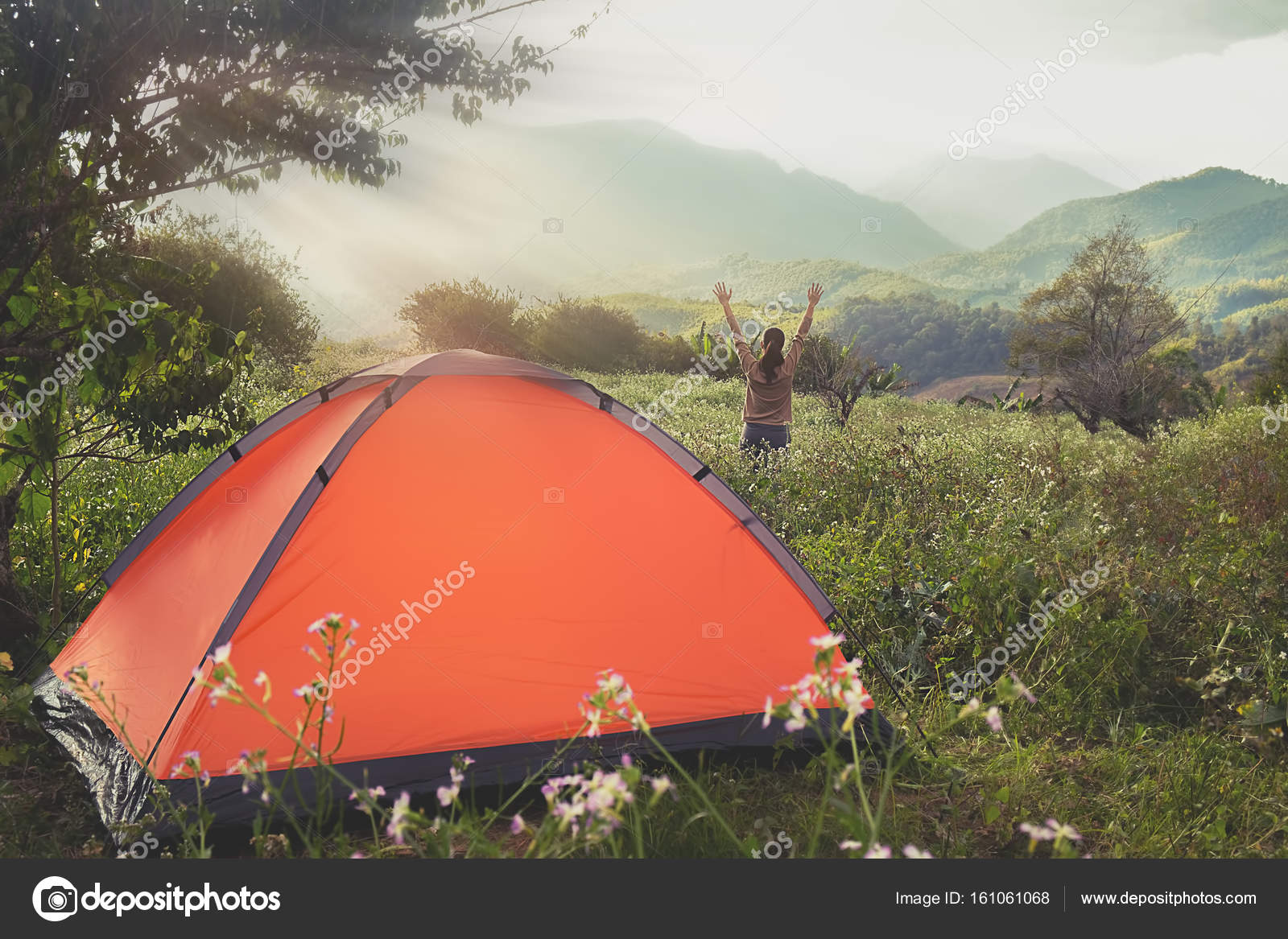 Asian hipster cute teen girl enjoying sunrise outside the tent. c&ing in forest. u2014 & Asian hipster cute teen girl enjoying sunrise outside the tent ...