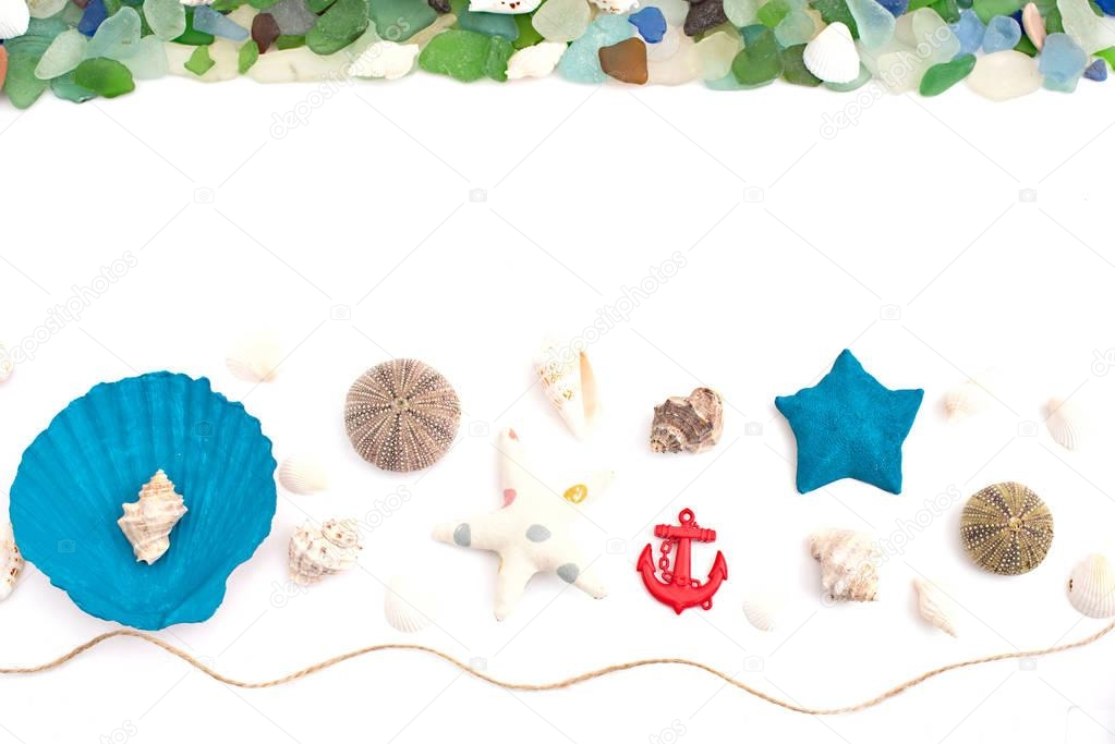 Set of sea shells on old wooden background