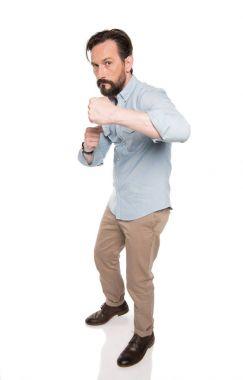 Bearded man in boxing pose