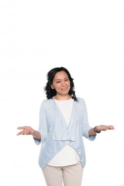 casual asian woman standing with gesture