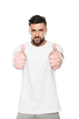 Man gesturing thumbs up sign