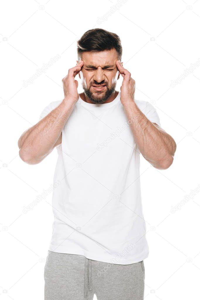 man having huge headache