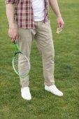Fotografie muž hrát badminton