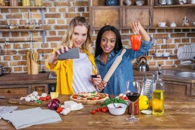 Selfie of women in kitchen