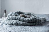 Fotografie cat on wool blanket