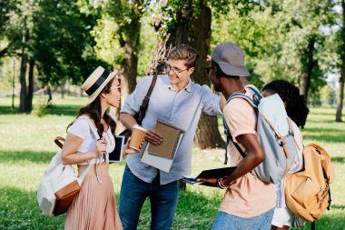 multiethnic students in park