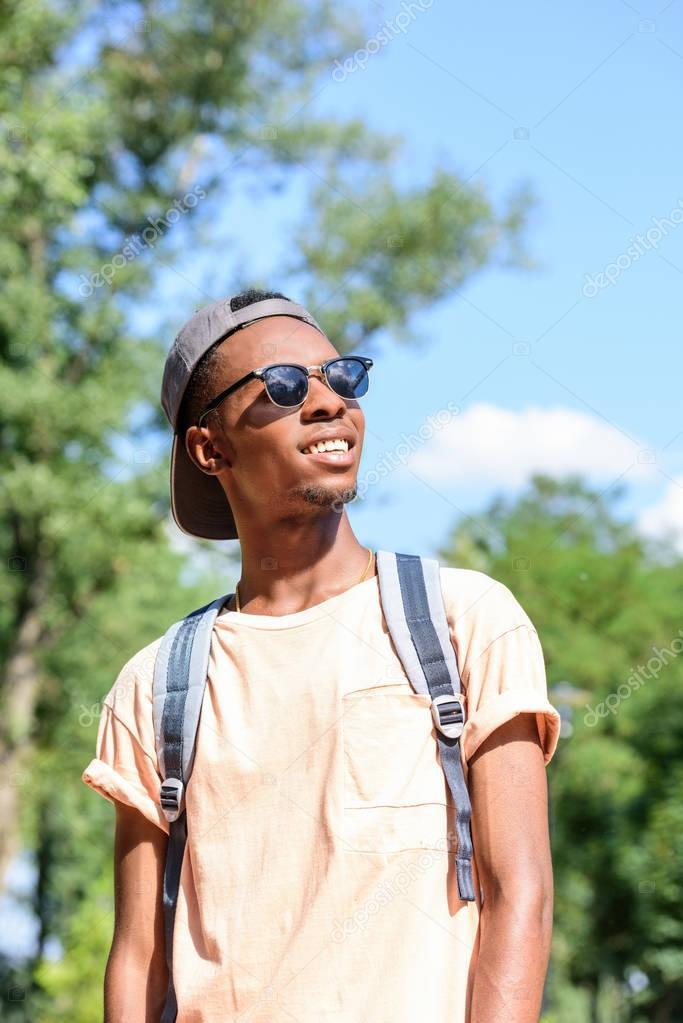 smiling african american man in sunglasses