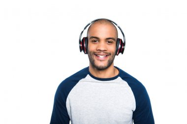 african american man in headphones