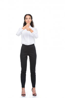 woman gesturing signed language