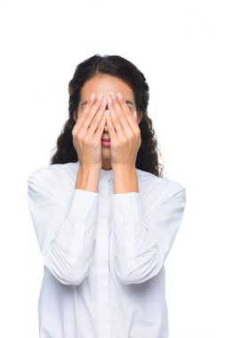 businesswoman closing face with hands