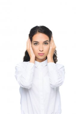 businesswoman closing ears with hands