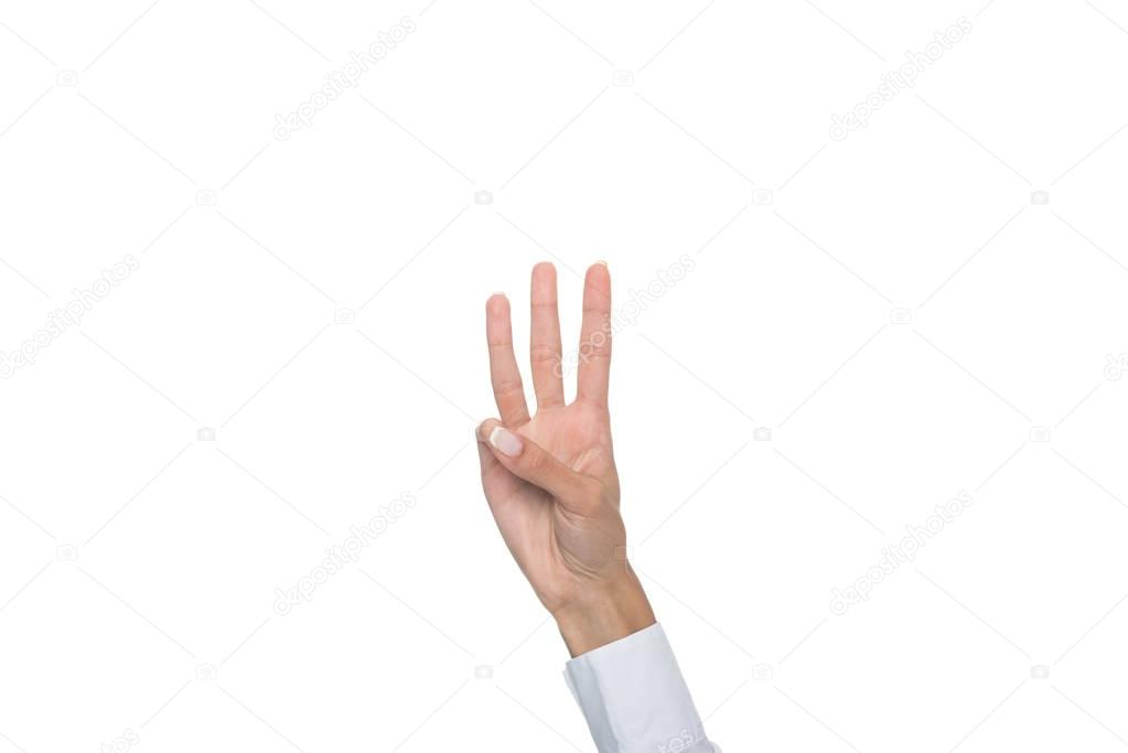 person showing three sign