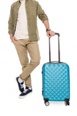 man holding suitcase