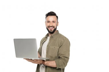 Portrait of cheerful caucasian man with laptop looking at camera isolated on white stock vector