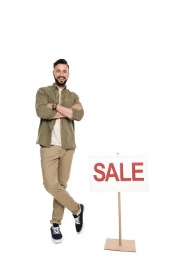 Man with sale sign