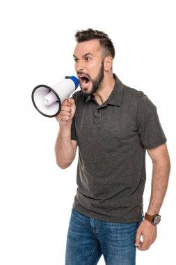 man screaming in loudspeaker