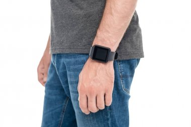 man with smartwatch on wrist