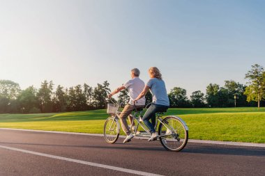 Senior couple riding bicycle