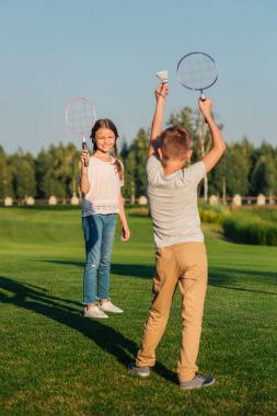Children playing badminton