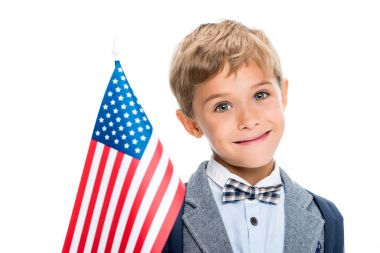 happy schoolboy with usa flag