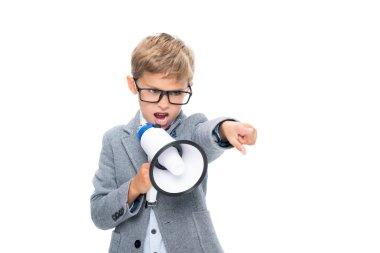 schoolboy shouting in loudspeaker