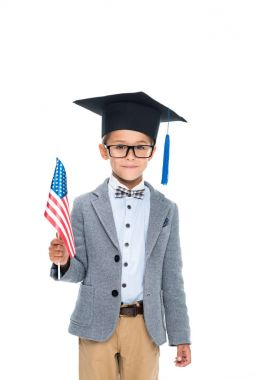 schoolboy with usa flag and graduation hat