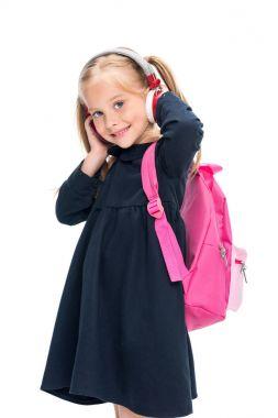 beautiful schoolgirl with headphones