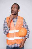 Photo thoughtful construction worker