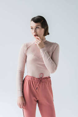 pensive woman in vintage clothing