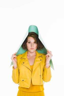 girl in yellow leather jacket
