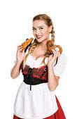 Fotografie german girl with pretzels