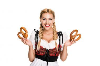 german girl with pretzels