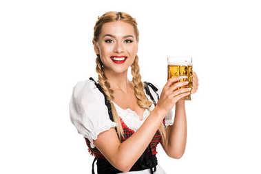 waitress with beer glass