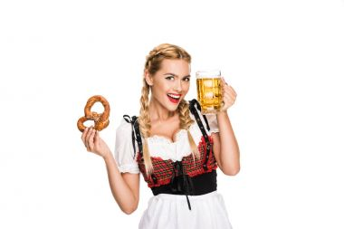 german girl with beer and pretzel