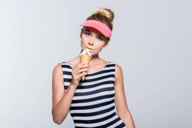 stylish woman with ice cream