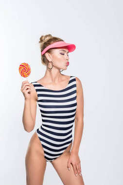 fashionable woman with lollipop