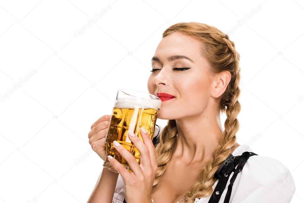 german girl drinking beer
