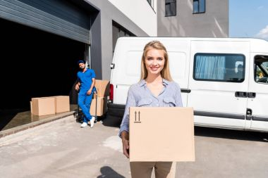 woman with delivered package