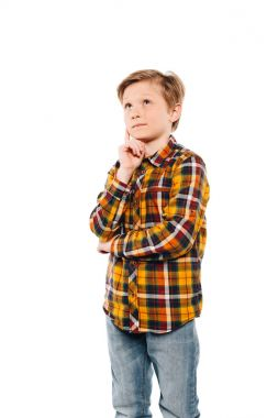 Pensive little boy thinking and looking away isolated on white stock vector