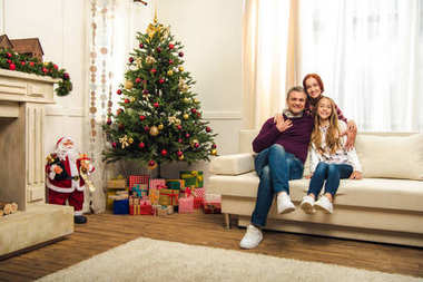 Happy family at christmastime