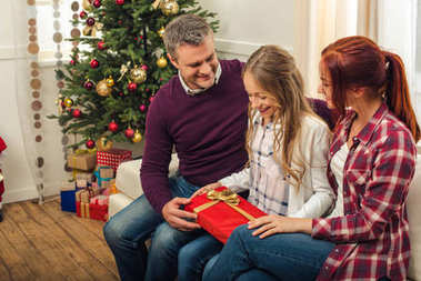 family with gift box