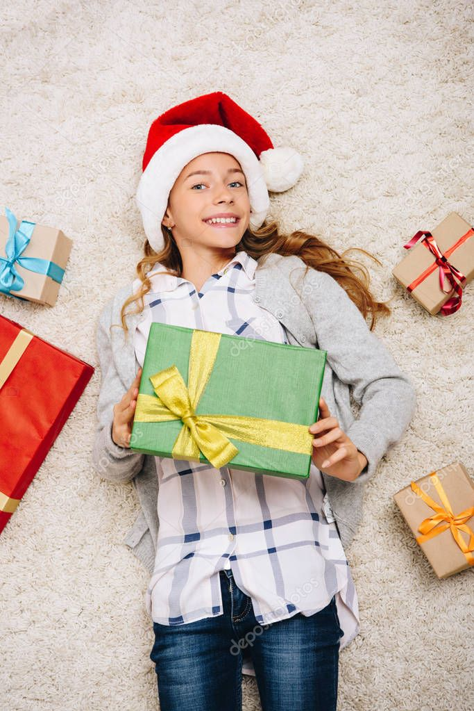 happy teen with gift boxes